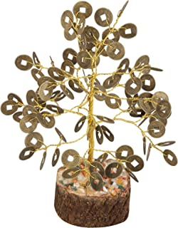 Zaicus Feng Shui Chinese Tree Coin Money Tree Good Luck Energy Generator for Reiki Healing Spiritual Gift Chakra with Crystal Point Gemstone & EMF Protection Size : 7-8 Inch Approx