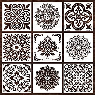 Mandala Wall Wood Furniture Canvas Tile Fabric Stencil Stuff, Laser Cut Painting Template for DIY Decor, Large Size, Reusable (6x6 Inch,9pcs)