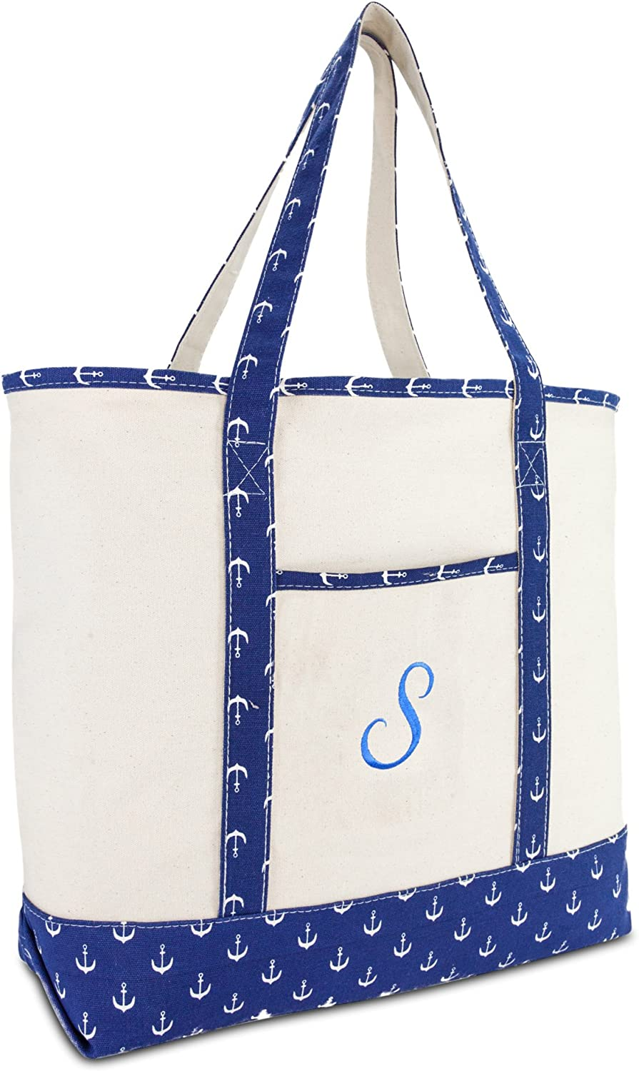 DALIX Large Tote Bag Shoulder Bags Personalized Gifts Ballent bluee Anchor A  Z