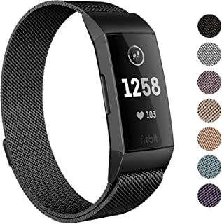 SWEES Metal Bands Compatible Fitbit Charge 3 and Charge 3 SE, Milanese Stainless Steel Magnetic Small (5.5