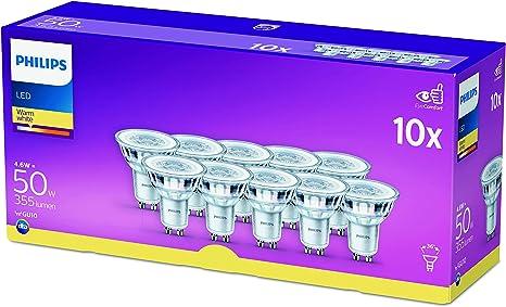 TALLA 50W. Philips Bombilla LED cristal 50 W GU10, luz blanca cálida 36° apertura, no regulable, 10 unidades