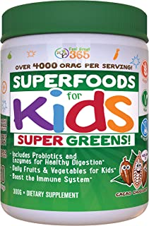Kids Superfood Greens Cocoa Chocolate Superfood Powder by Feel Great 365 (60 Servings) |..