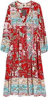 Women's Long Sleeve Floral Print Retro V Neck Tassel...