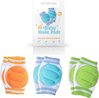 Baby Knee Pads for Crawling (3 Pairs) - Adjustable Breathable Waterproof Safety Protector for Babies, Toddlers, Infants, B...