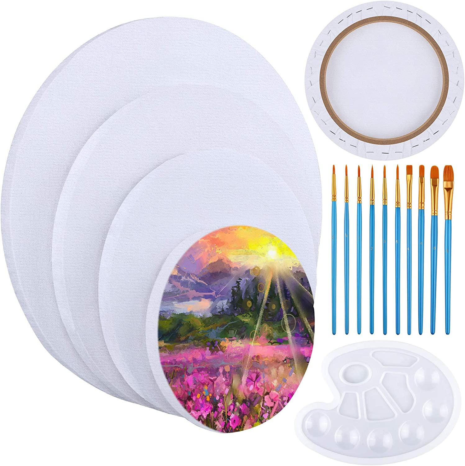 Ruisita 4 Pack Round Shaped Canvas Manufacturer direct delivery Paint Artist Max 86% OFF Stretched