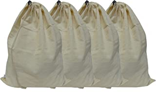 Set of 4 Pure Cotton Dust-Proof Drawstring Breathable Multipurpose Storage Bags Pouch by Hell Blues