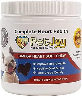 PetJoy Complete Heart Health- Omega Heart Soft Chew with Omega-3 Fatty Acids EPA, DHA, Vitamin E Supports Healthy Joints Bones Brain Heart and Skin/Coat