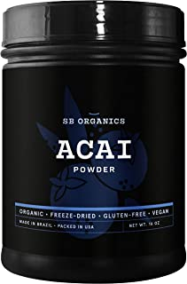 SB Organics Premium Acai Powder - USDA Organic, Non-GMO, Freeze-Dried Berries - Antioxidants, Fiber, Vitami...