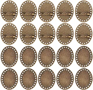 PandaHall 10 Pcs Alloy Brooch Clasps Pin Disk Base Pad Bezel Blank Cabochon Trays Backs Bar 25x18mm for Badge, Corsage, Name Tags and Jewelry Craft Making Antique Bronze