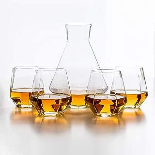 Diamant 5 Piece Carafe Set - Geometric, Multi-Use, Modern Glassware - 4 Lightweight, Luxury Glasses for Water, Cocktails, Whiskey, Bourbon, Stemless Wine Glass - Box Set, by Kop & Hagen