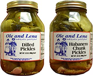 Ole & Lena Pickled Preserves 32 ounce jars (2 Pack Variety)--Habanero Chunk Pickles, Dilled Pickles