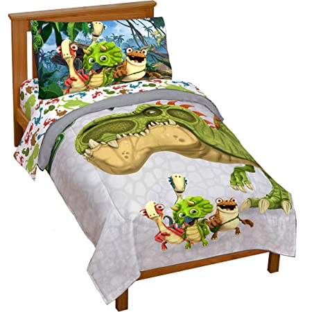 Jay Franco Gigantosaurus 4 Piece Toddler Bed Set – Bed Set Includes Toddler Size Comforter & Sheet Set - Bedding Features Dinosaur Rocky, Bill, Tiny, & Mazu (Official Gigantosaurus Product)