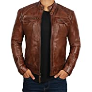 Brown Leather Jacket for Men -... Brown Leather Jacket for Men - Distressed Genuine Motorcycle Leather Jackets