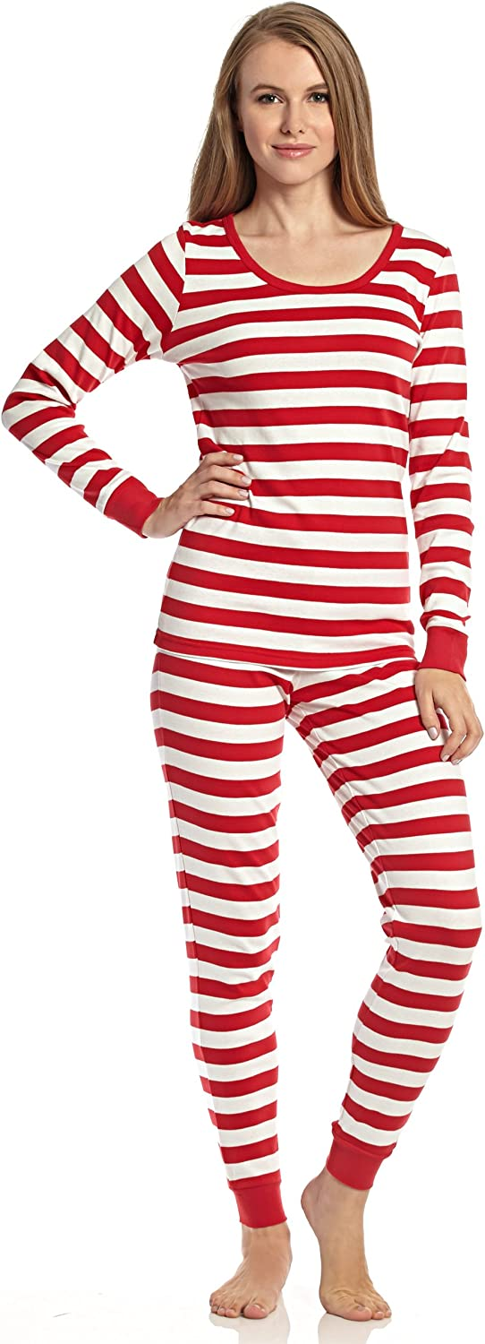 Leveret Women's  Fitted Striped  Pajama 100% Cotton (XSXL) (Medium, Red & White)