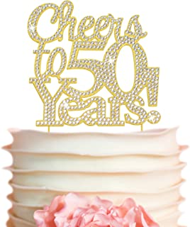 50 Cake Topper - Premium Gold Metal - 50th Birthday or Anniversary Party - Cheers to 50 Years Sparkly Rhine...