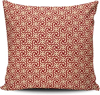 DOUMIFA Home Throw Pillow Case Egyptian Tile Pattern Maroon and Peach European Decorative Pillowcase Cushion Cover Both Sides Same Colored Printing 26X26 inch (1-Pack)