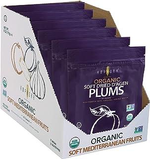 Amphora International All Natural Organic Soft Dried D'Agen Plums, 6 Oz Each ( Pack of 6)