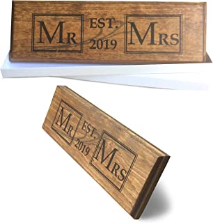 Let the Fun Begin Mr and Mrs Sign 2019 Couples Wedding Engagement Gift and Decoration, His Hers Bridal Shower Gift Set, Handcrafted Natural Stained Wood - Gift Box, Hanger & Stand Included