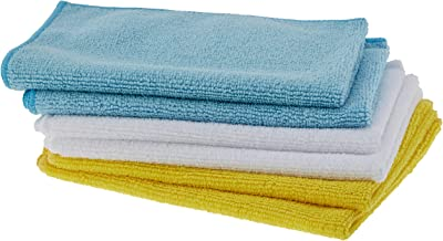 AmazonBasics Microfiber Cleaning Cloth - 222 GSM (Pack of 6), Multicolor