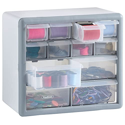 VonHaus Storage Cabinet Organiser with 12 Drawers – For Toys, Crafts, Sewing, Jewellery and DIY Parts/Bits – Transparent Drawers/Compartments - Grey/White