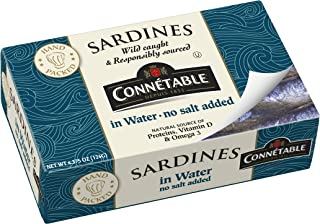 Connetable Sardines in Water No Salt Added, 4.375 Ounce (Pack of 12)