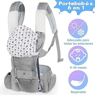 Lictin Mochila Portabebés - 6 en 1 Portabebe Ergonómico con Asiento Transpirable y Ajustable, con Dos Baberos de Algodón, una Cadena de Chupete, Adecuado para Bebés de 3.5KG a 15KG