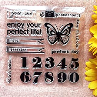 GAWEI Clear Stamps for Scrapbooking and Card Making Words Enjoy Your Life Butterfly Number Transparent Stamps Silicone Sta...