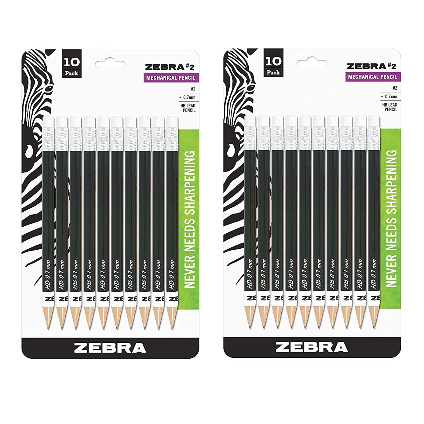 Zebra #2 Mechanical Pencil, 0.7mm Point Size, Standard HB Lead, Black Barrel, 10-Count, 2 PACK