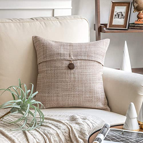 high quality Phantoscope Beige outlet online sale Button Linen Decorative Throw Pillow Case Cushion Cover 18 x 18 inches 45 x online 45 cm outlet sale