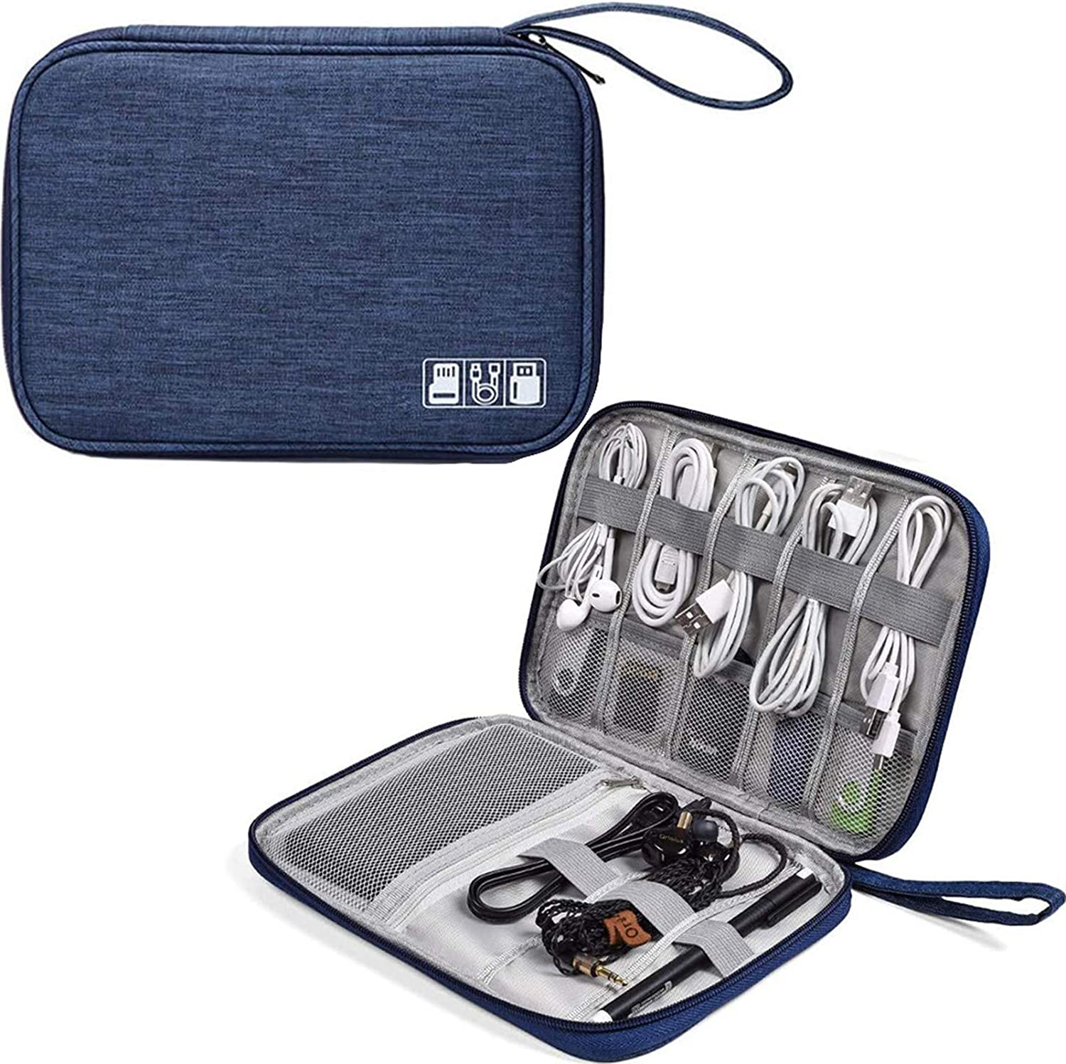 Travel Electronics Cable Organizer Bag Accessories Bag, Waterproof Universal Electronics/Accessories Multifunction Carrying Case Gadgets Bag Pouch for Cable, Charger, Phone, USB, SD Card, Dark Blue