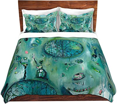 Kess InHouse Luvprintz Abstract Leoparc Teal Brown Twin Featherweight Duvet Cover 66 by 88-Inch
