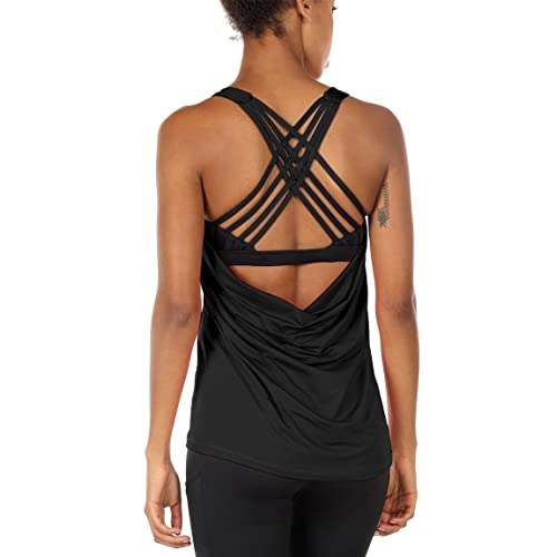 e9bece76648 icyzone Yoga Tops Workouts Clothes Activewear Built in Bra Tank Tops for  Women