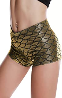 Diamondkit Women's Shiny Mermaid Fish Scale Shorts