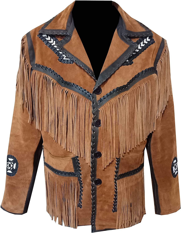 Men's Suede Leather Jacket Western Suede Leather Jacket with Fringe