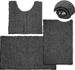 3 Piece Bathroom Rug and Mats Sets, Anti-Slip Chenille Bathmat for Shower Bath Machine Washable, Gray