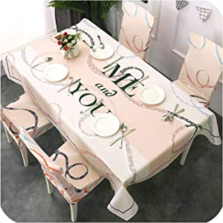 Waterproof Oil Proof Table Cloth Pastoral Geometric Tropical Plants Printed Chair Cover Tablecloth for Kitchen Dining Room Party,Color 10,4Pcs Chair Cover