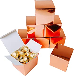 Rose Gold Party Favors Boxes - Small Candy Treat Gift Boxes Bulk Wedding Bachelorette Bridal Shower Birthday Party Boxes Supplies, 50pc
