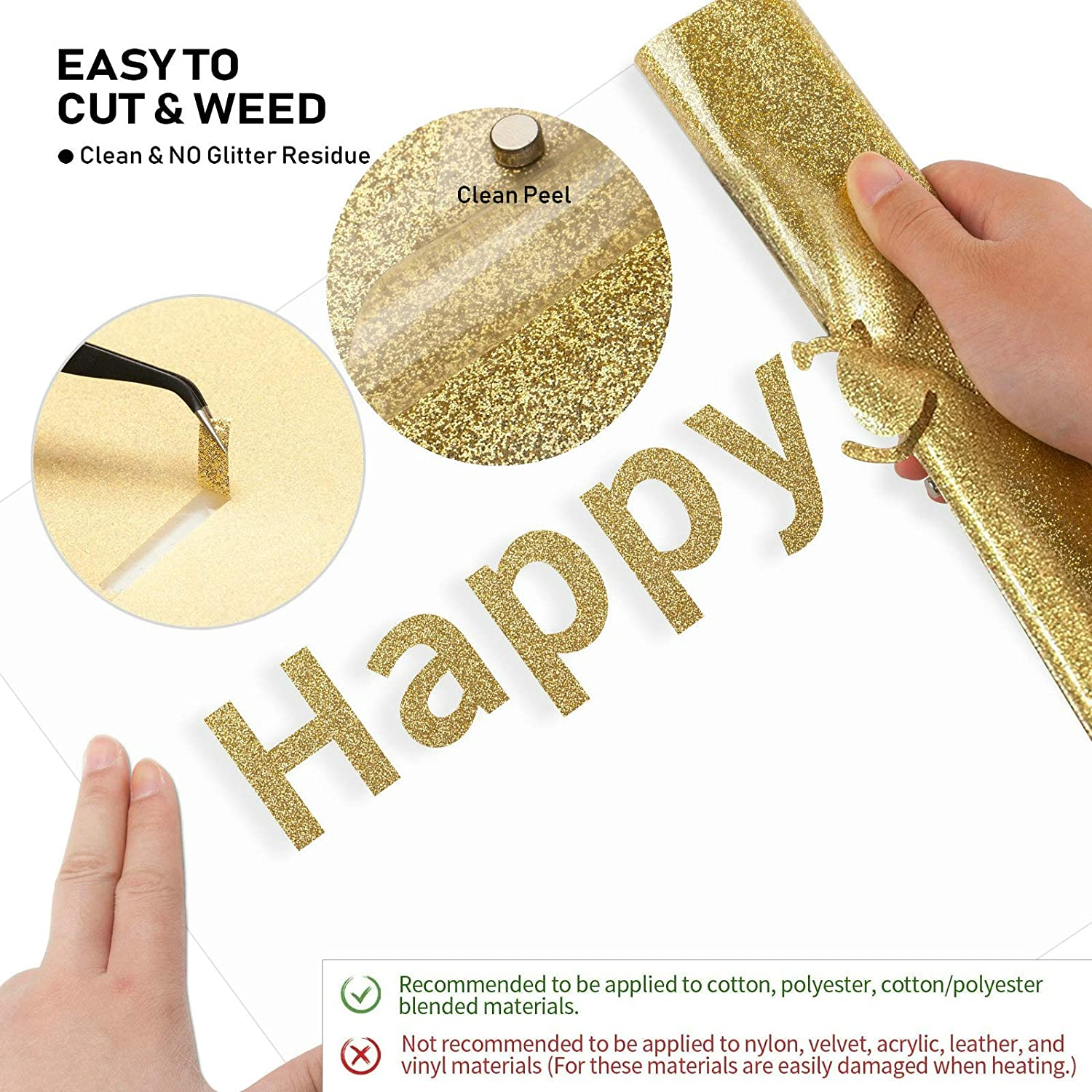 Heat Transfer Vinyl for Cricut 12pcs Womens Day Rose Gold Silver Glitter HTV Iron On Vinyl for T-Shirt PU HTV Vinyl Sheets for Cricut Easy Press and Other Heat Press Machine,12X10