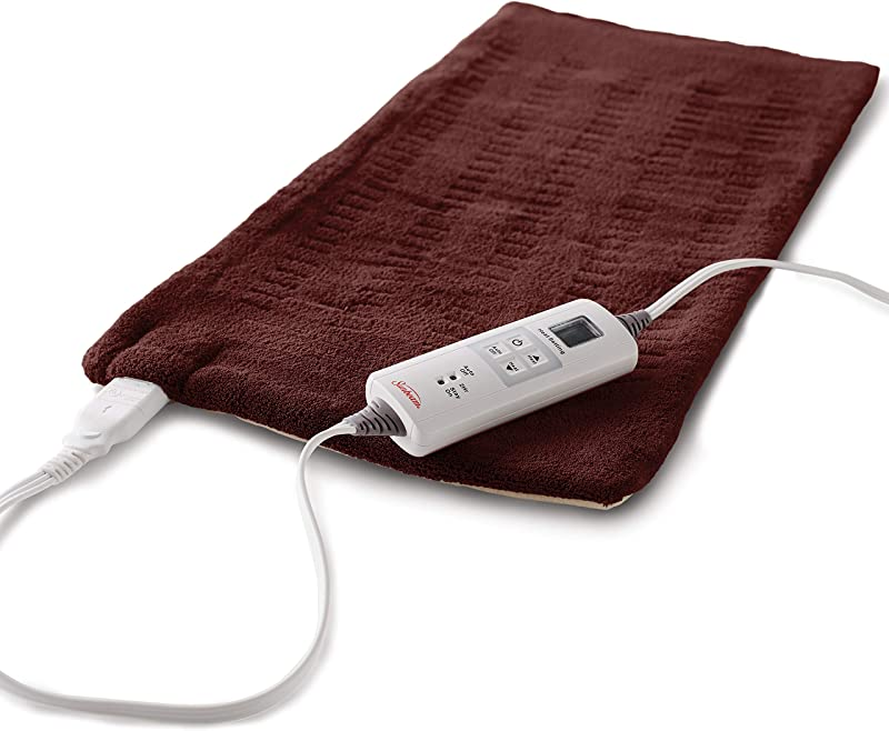 Sunbeam Heating Pad For Fast Pain Relief XL King XpressHeat 6 Heat Settings With Auto Shutoff Burgundy 12 Inch X 24 Inch