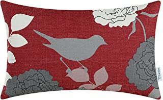 CaliTime Canvas Bolster Pillow Cover Case for Couch Sofa Home Decoration Floral Cartoon Shadow Bird Silhouette 12 X 20 Inches Burgundy Ground Grey Bird