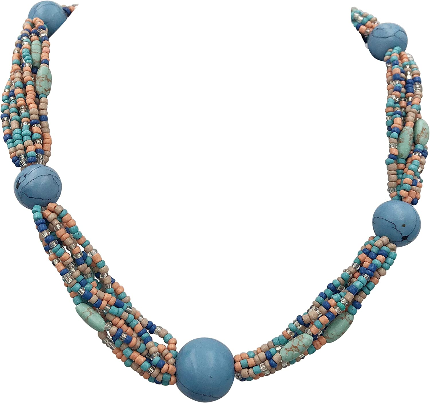 Gypsy Jewels Layered Seed Bead & Simulated Turquoise Stone Multi Strand Statement Necklace