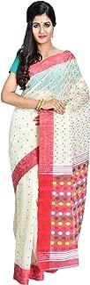 SareesofBengal Women's CottonSilk Handloom Jamdani Dhakai Saree White And Red