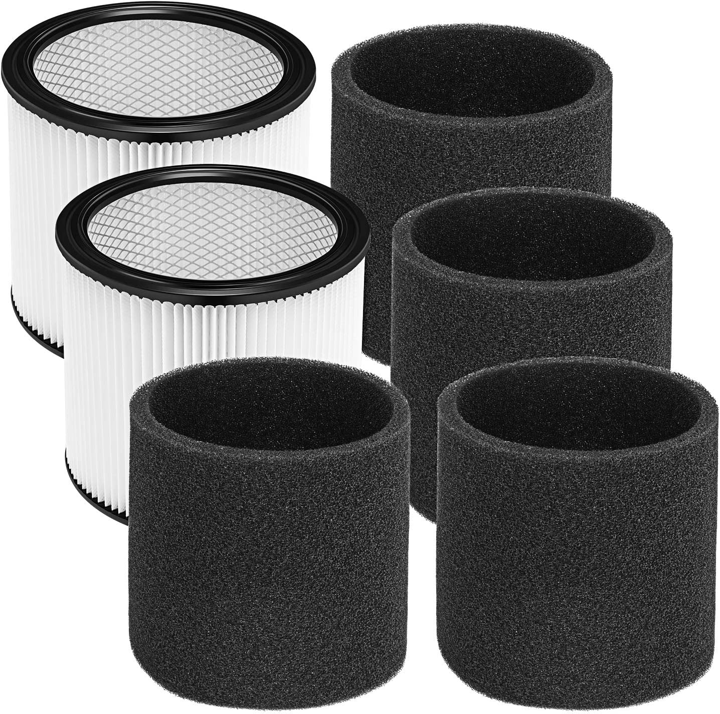 Cabiclean Foam Sleeve Filter for Shop-Vac 90304 90350 90333 Replacement for Most Wet/Dry Vacuum Cleaners 5 Gallon and Above, Compare to Part # 90304, 90585 (2+4)