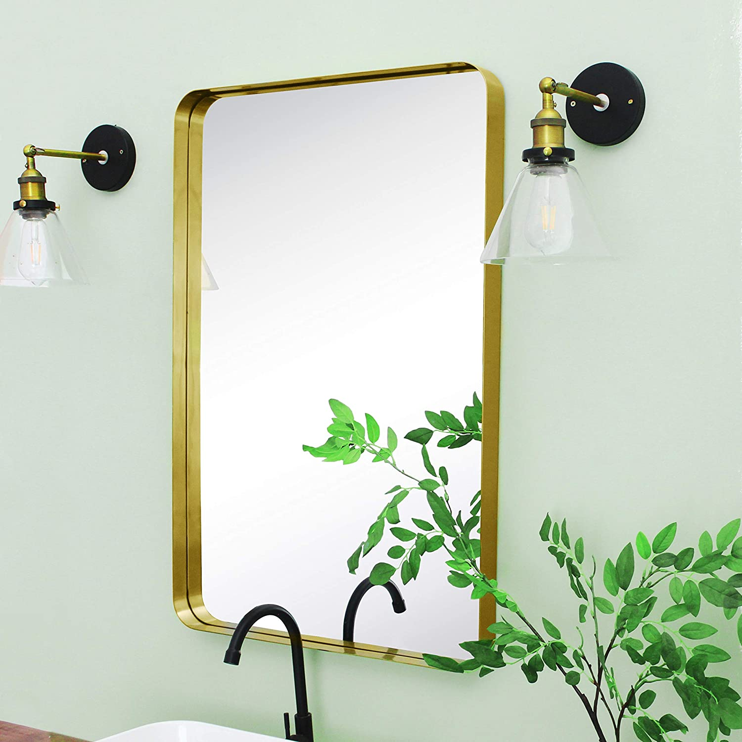 Buy Tehome 24x36 Brushed Gold Metal Framed Bathroom Mirror For Wall In Stainless Steel Rounded Rectangular Bathroom Vanity Mirrors Wall Mounted Online In Indonesia B089t6ftxl