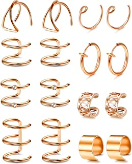 LOYALLOOK Stainless Steel Cuff Earring Non Pierced Earrings Clip On Earrings Fake Piercings For Men Women 6pairs
