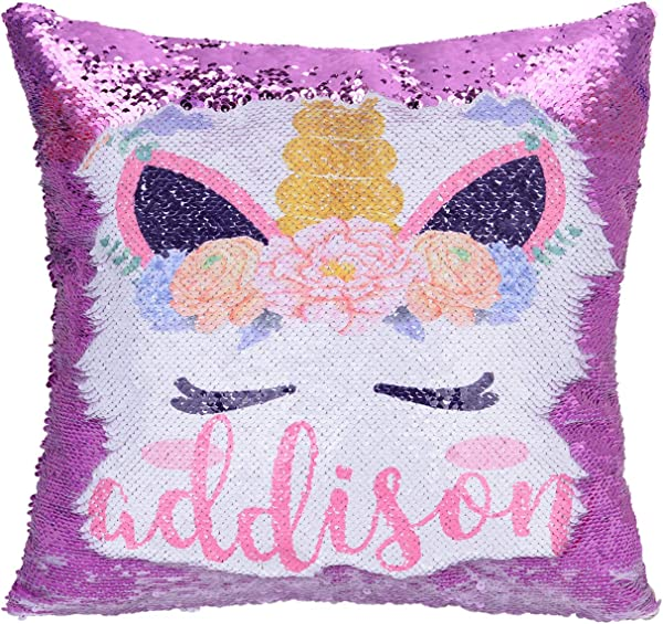 Xiaowli Personalized Unicorn Sequin Pillow With Name Custom Mermaid Pillow Reversible Sequin Pillows Unicorn Gifts For Girls A Unicorn Purple