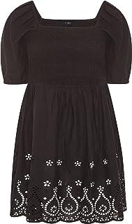 Yours - Black Shirred Peplum Milkmaid Top - Women's - Plus Size Curve