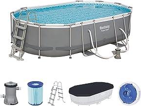 Bestway Power Steel Oval Pool 488x305x107 cm, Ovaler Stahlrahmenpool-Set mit Filterpumpe und Zubehör 488 x 305 x 107 cm, Stahlrahmen Accesorios, Color Gris, (32042-19)