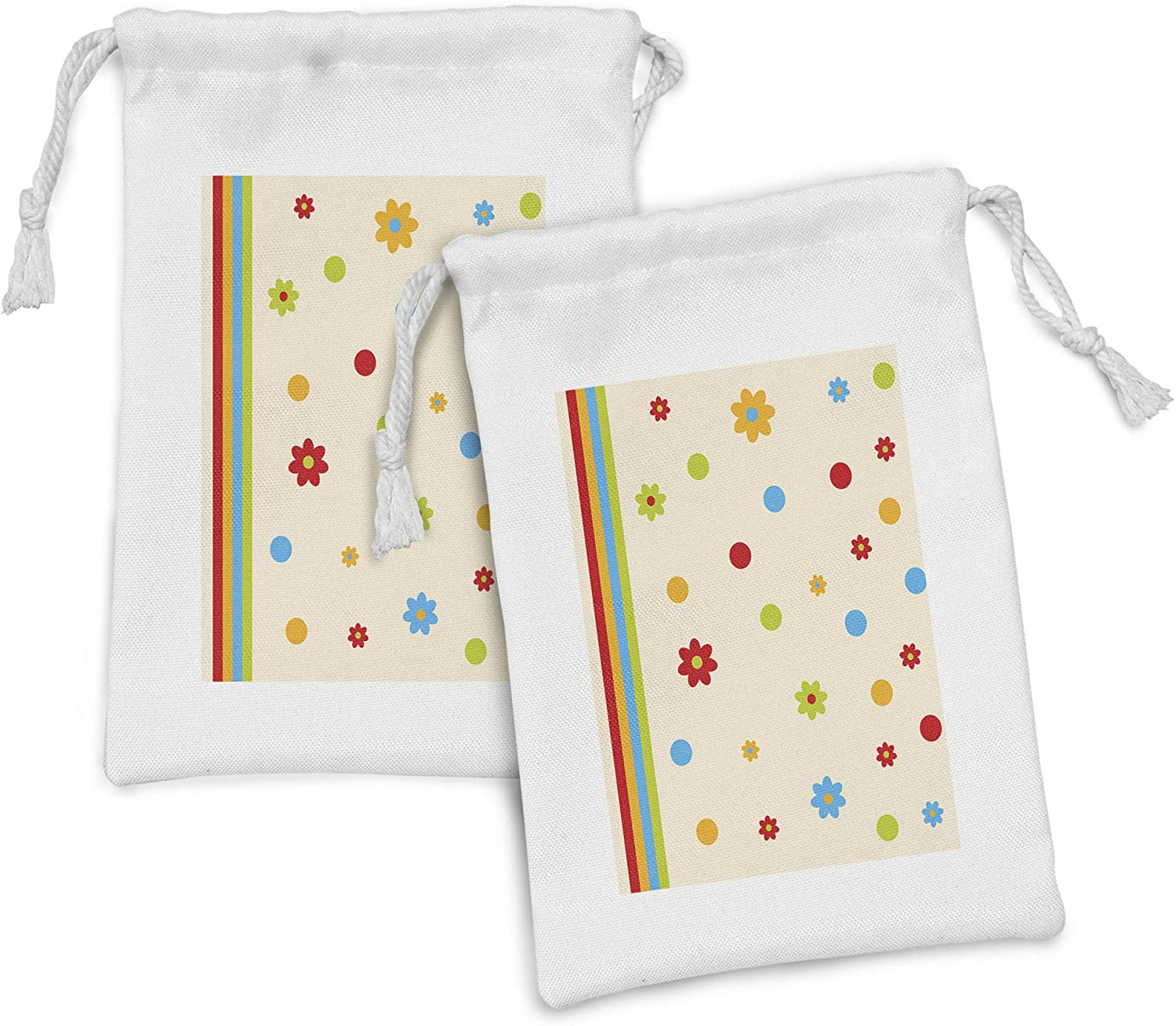 Lunarable Floral Fabric Pouch Set Sales for sale of and Direct sale manufacturer Girls Flower 2 Dots Bo