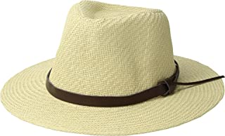 San Diego Hat Company Men's Cut & Sew Paper Fedora w/Faux Leather Band Ivory SM/MD